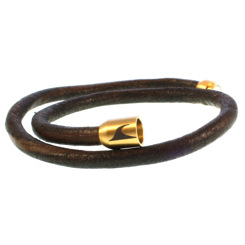 WAVEPIRATE Lederarmband HAWAII R Braun/Gold