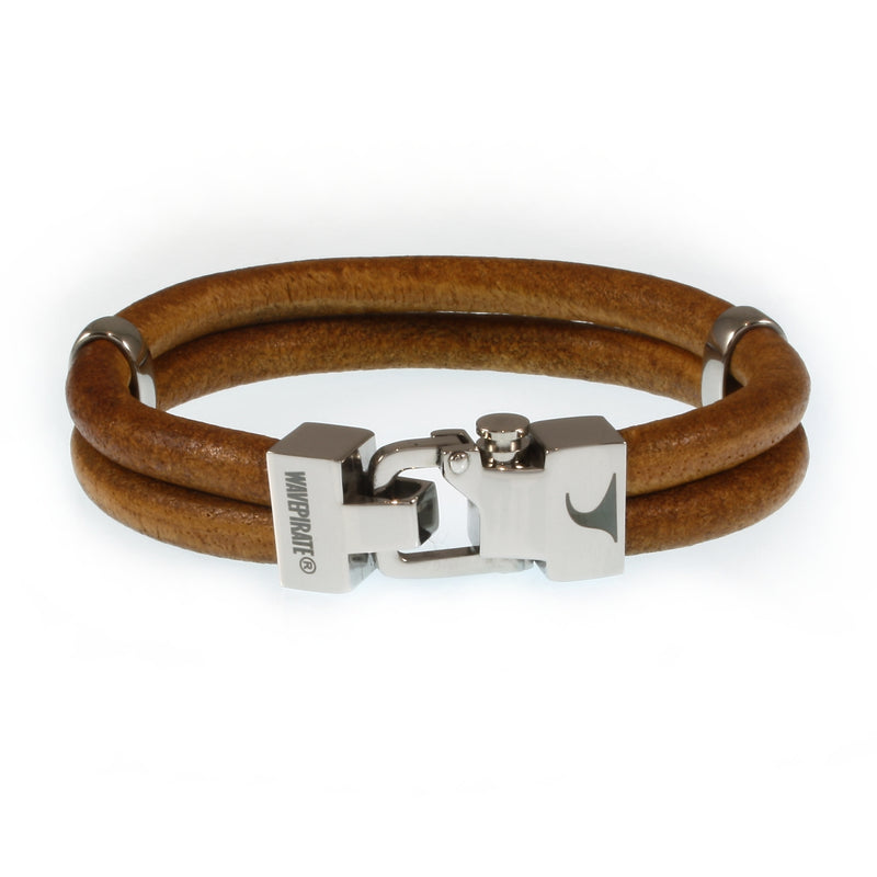 WAVEPIRATE Lederarmband TURN R Cognac