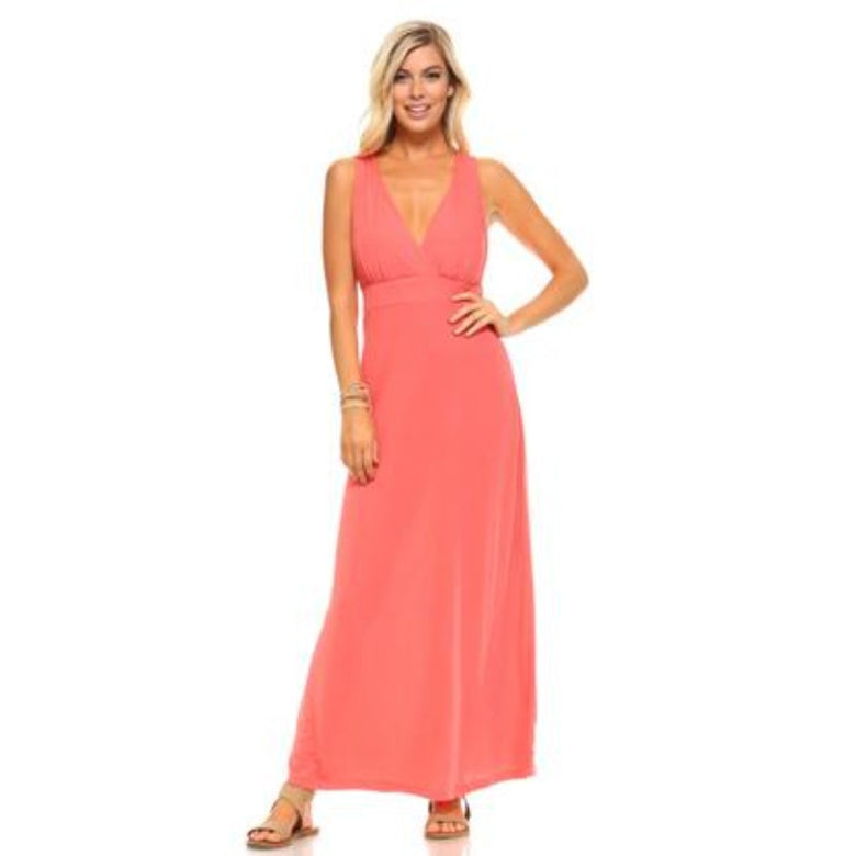 Women's Halter Pink Maxi Dress with Cross Back Straps