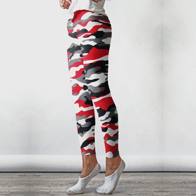 Red Camo Leggings, Capris and Shorts
