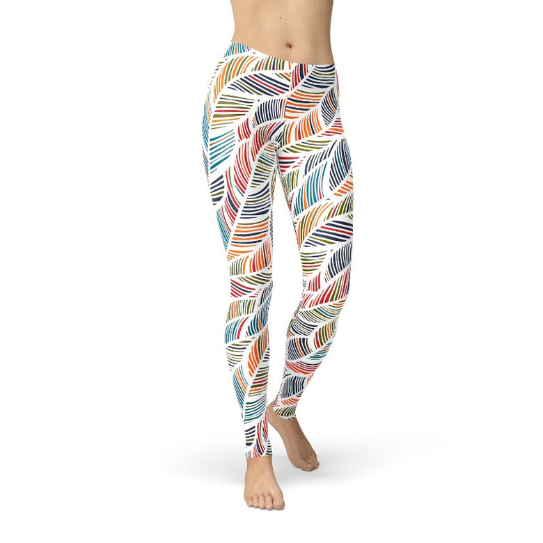 Women's Colorful Feather Fern Leaf Print Leggings