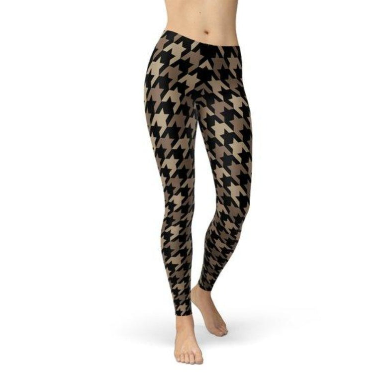 Women's Beige Brown Houndstooth tight Leggings