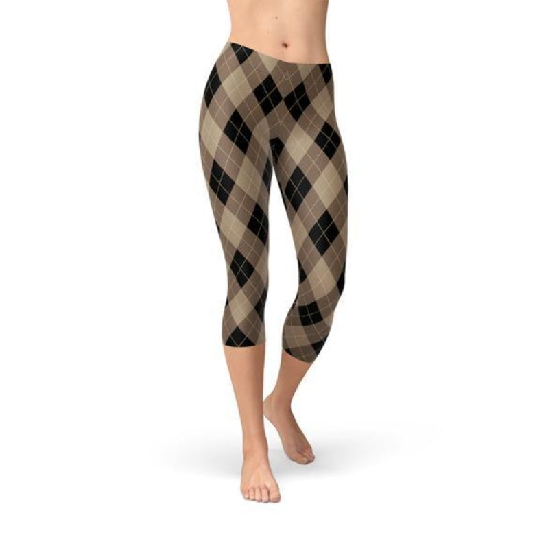 Women's Beige Brown Argyle Capri Leggings & tights