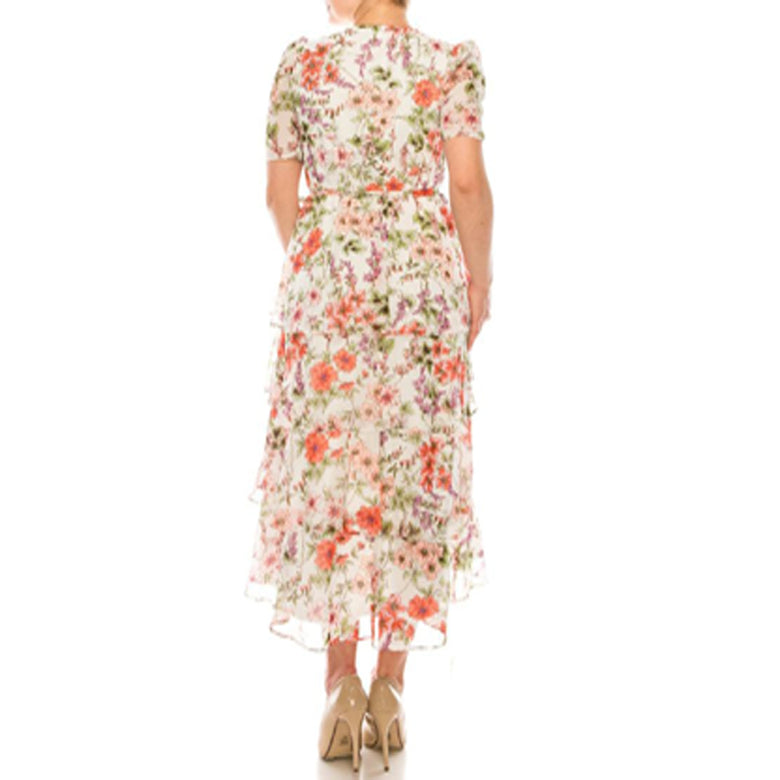 London Times White Coral Tiered Floral Print Dress