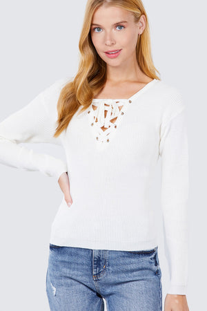 V-neck Eyelet Strap Back Sweater