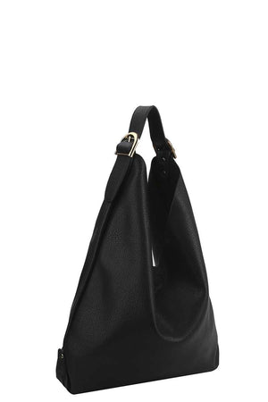 Smooth Textured Buckle Hobo Bag