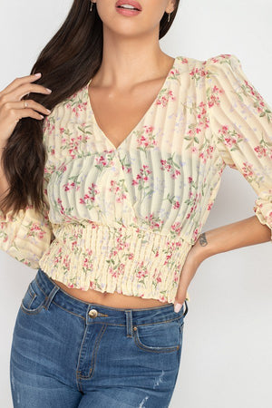 Floral Shadow Stripe V-neck Top