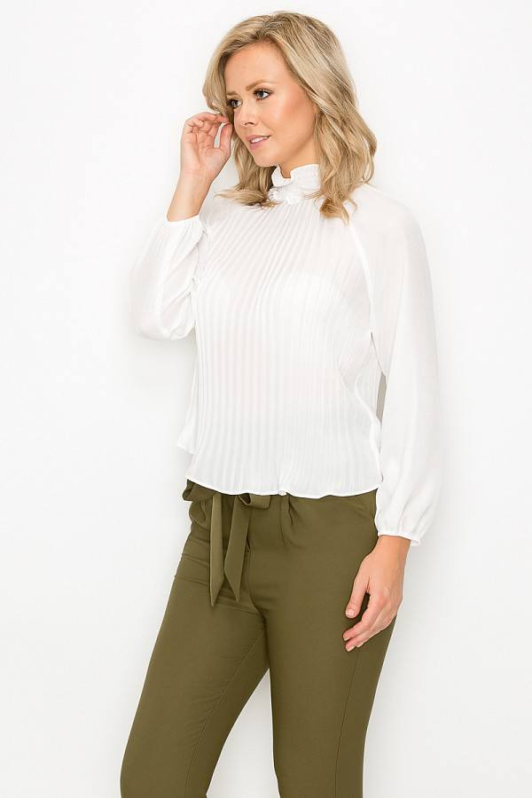 Smocked Trim Pleated Top