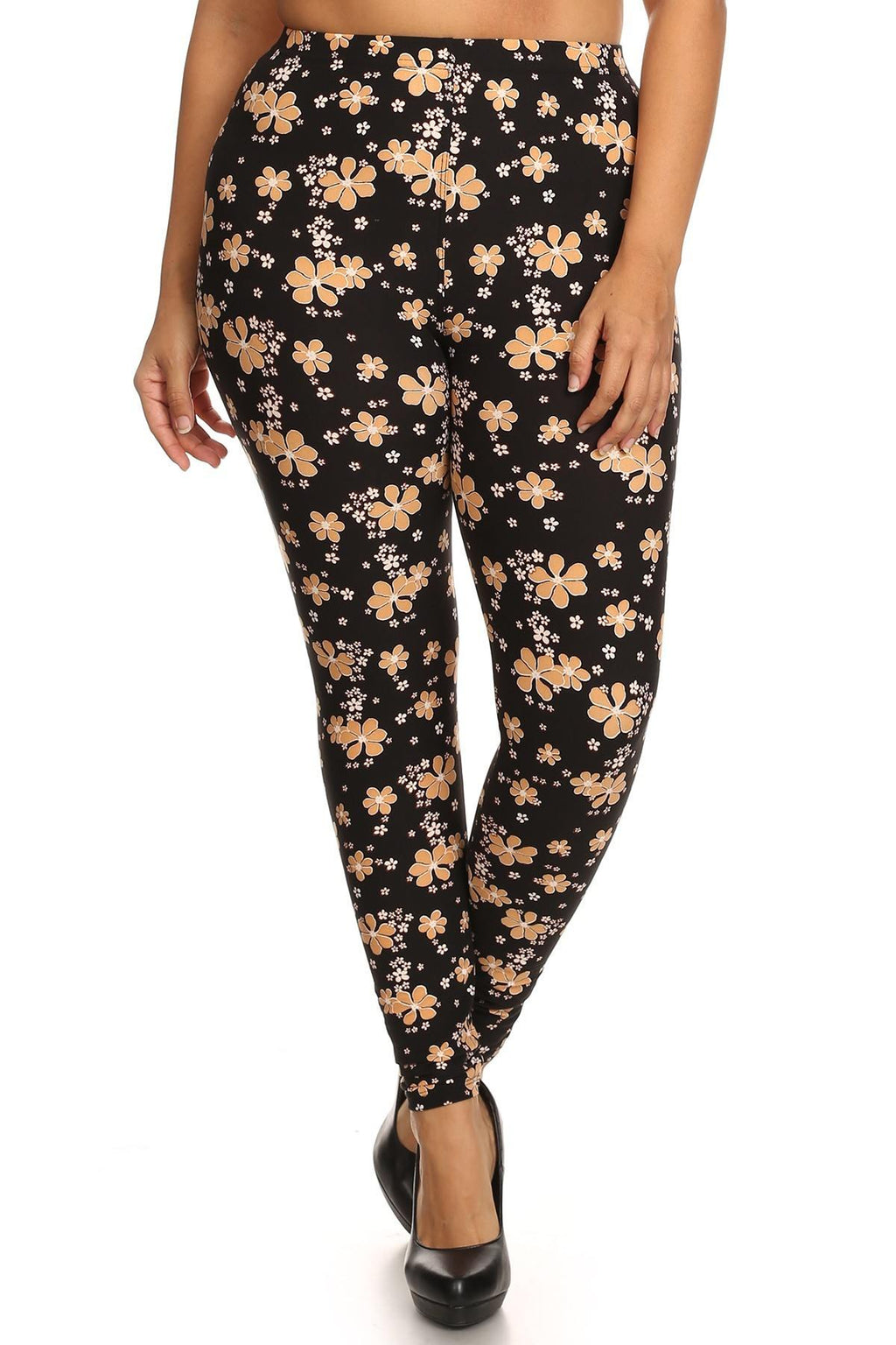 Super Soft Peach Skin Fabric, Floral Graphic Printed Knit Legging With Elastic Waist Detail. High Waist Fit