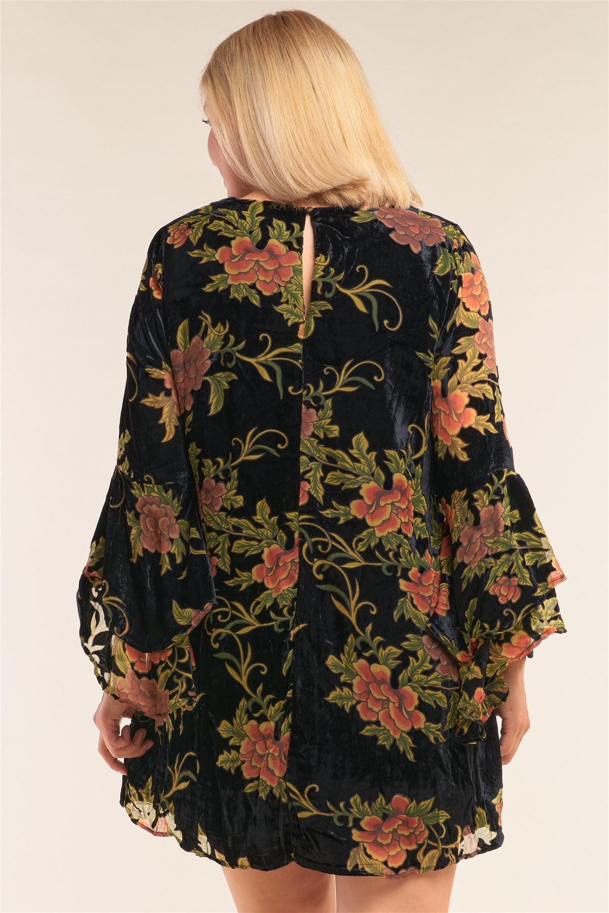 Plus Size Velvet Floral Pattern Long Angel Sleeve Round Neck Relaxed Fit Mini Dress