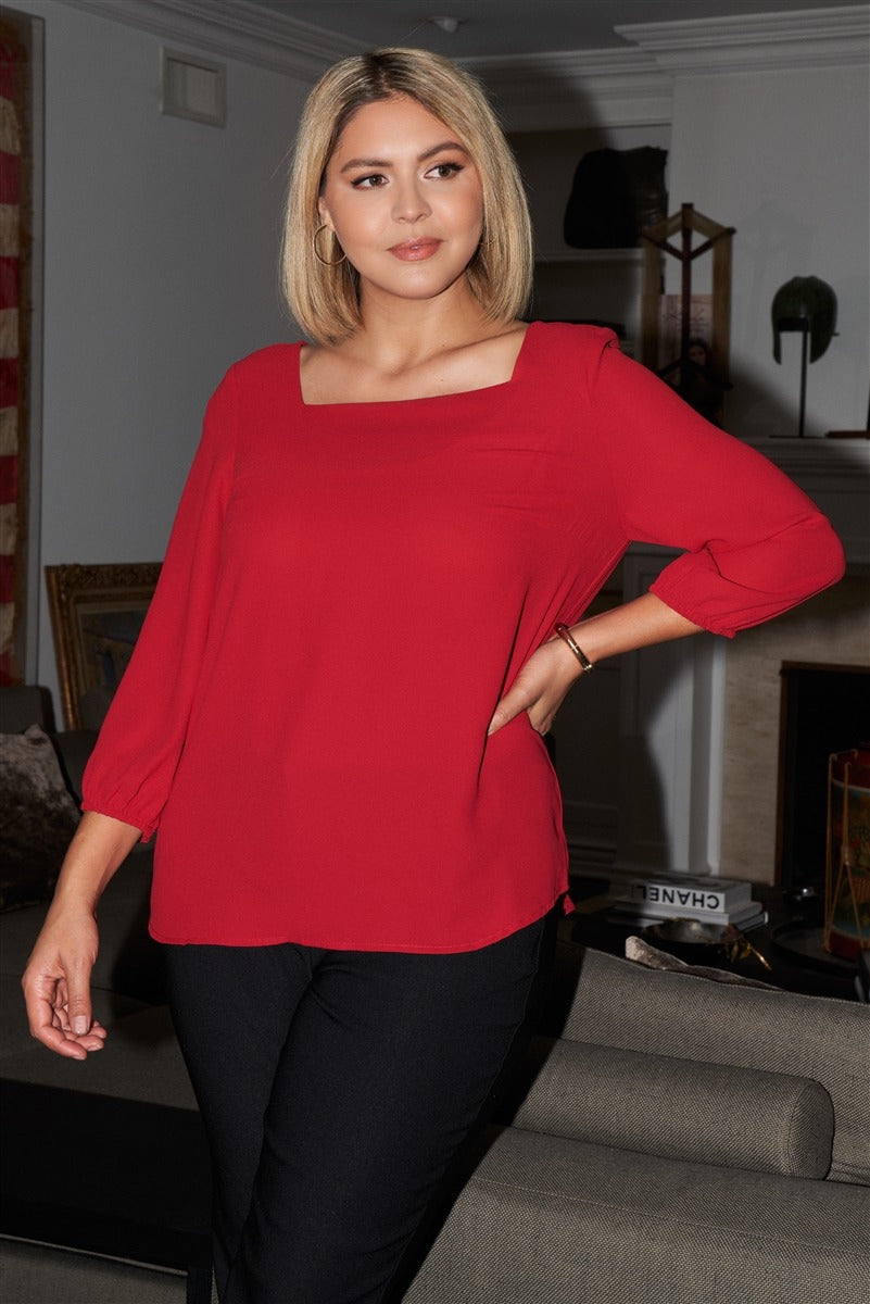 Plus Red Square Neck 3/4 Puff Sleeve With Elasticated Hem Loose Fit Top
