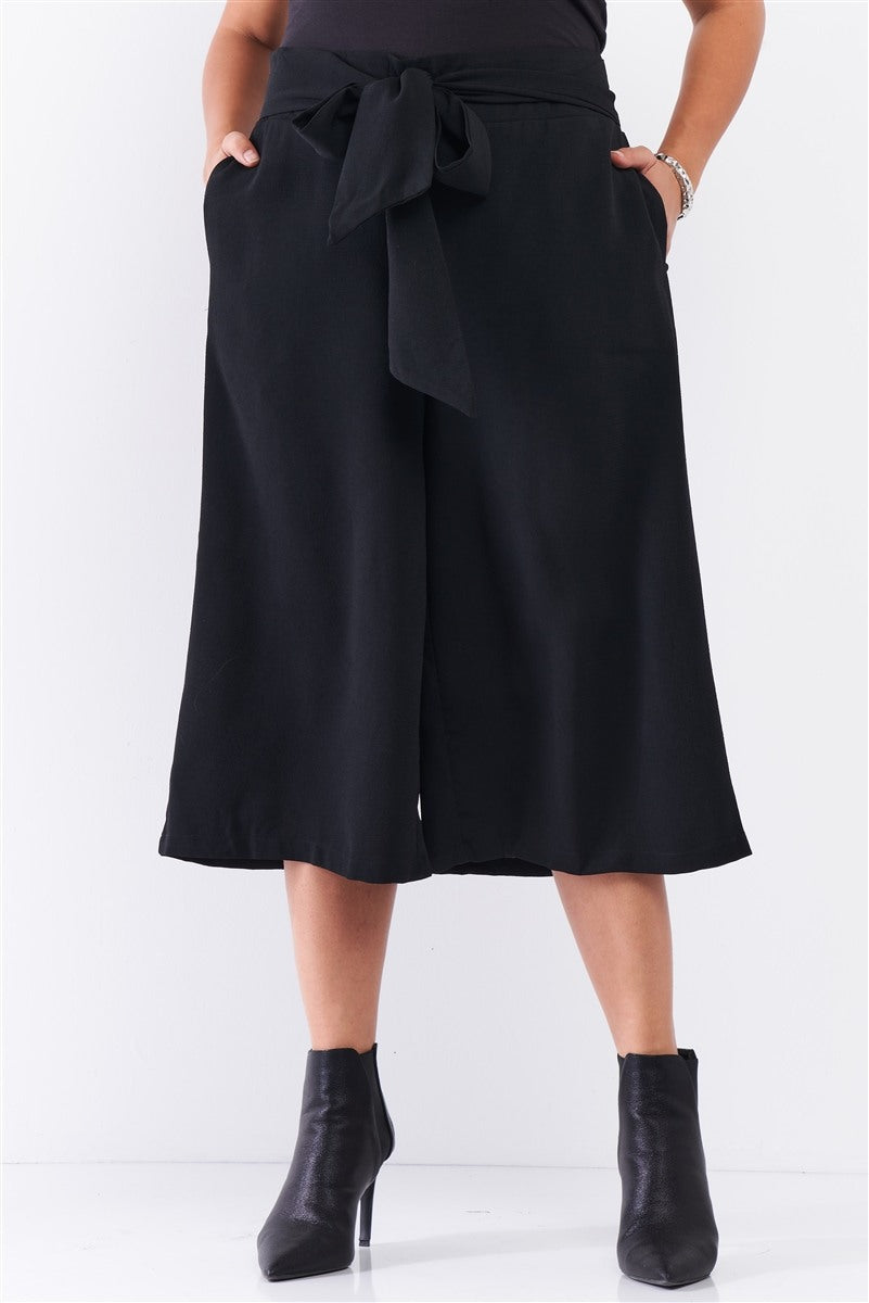 Plus Black Self-tie High Waist Detail Wide Leg Midi Length Pants