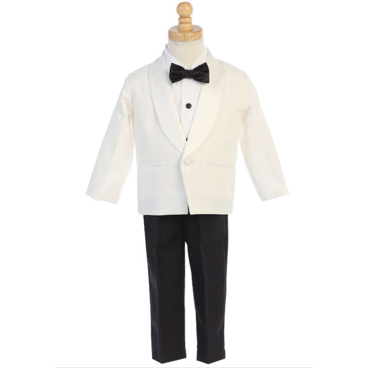 Load image into Gallery viewer, Boys One Button Tuxedo Suit  - Black & White