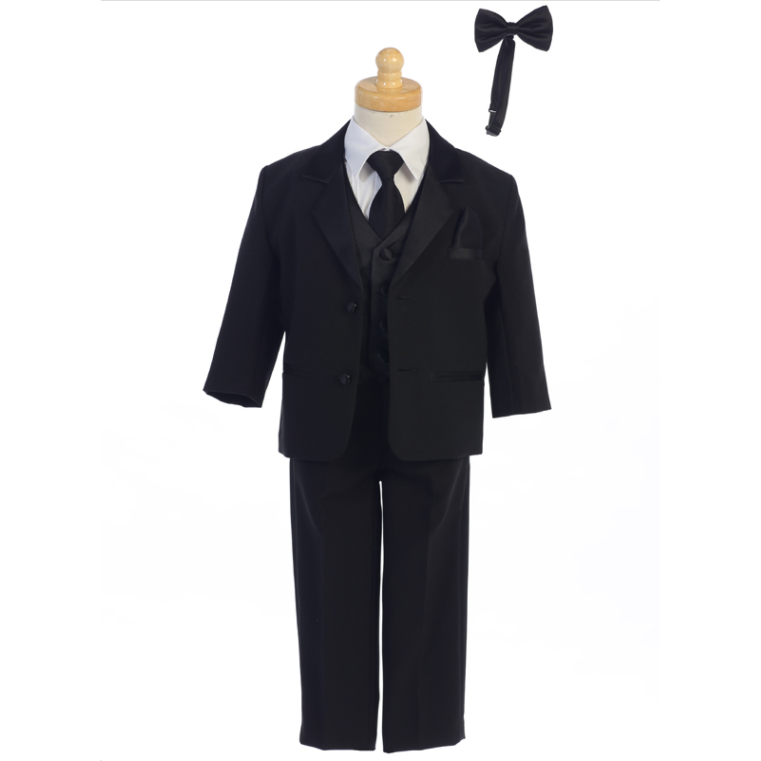 Boys One Button Tuxedo Suit with Clip on Bow Tie - Black