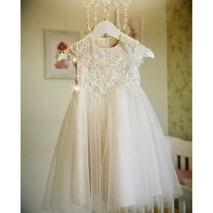 Mia Christening dress with silver lace and champagne satin