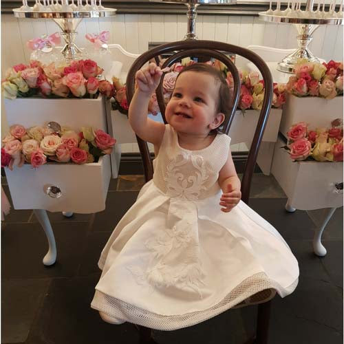Olivia lace Christening dress with contrast nude satin