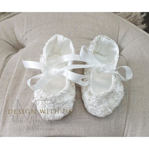Hand made lace Satin shoes-Ivory
