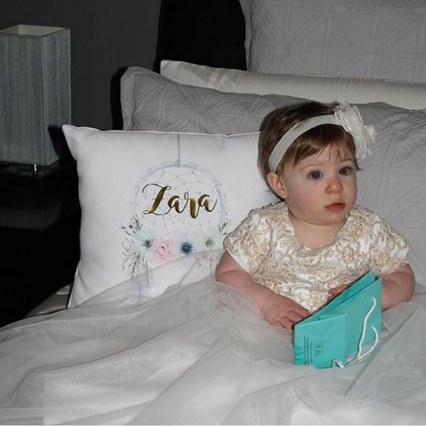 Mia long Christening dress with contrast Gold lace