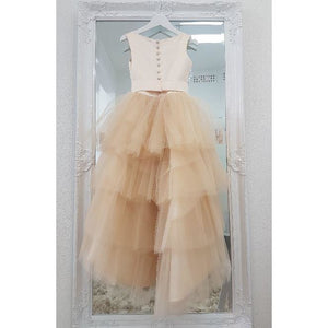 Custom made champagne Eva Girl Dress - Birthday Wedding, Flower girl, Communion