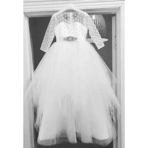 Load image into Gallery viewer, Custom made polkadot Dress - Communion, Flower Girl, Christening