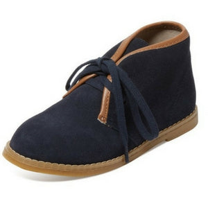Joshua Boys Suede tie up boys boot - Navy