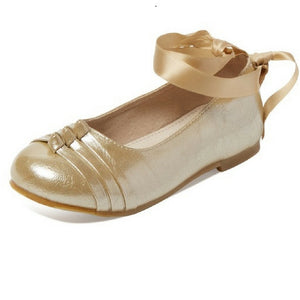 Load image into Gallery viewer, Leather tie up ballet flats
