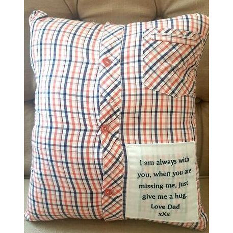 Australian handmade Memory Pillow Cover, Shirt Memory Pillow, Keepsake Pillow,
