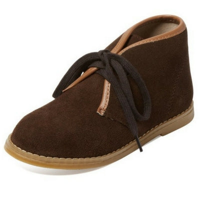 Joshua Boys Suede tie up boys boot - Brown