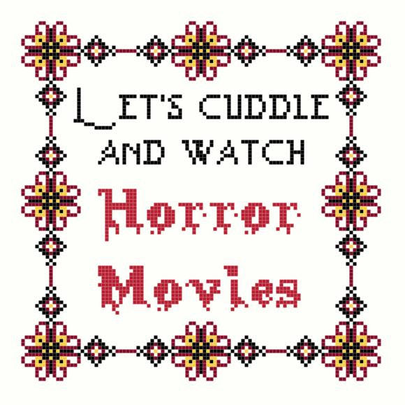 Let's Cuddle And Watch Horror Movies Cross Stitch PATTERN - Demon Monkey Craft