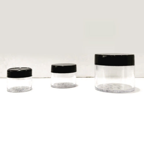 Cream and Gel Clear Jars with Black Cap