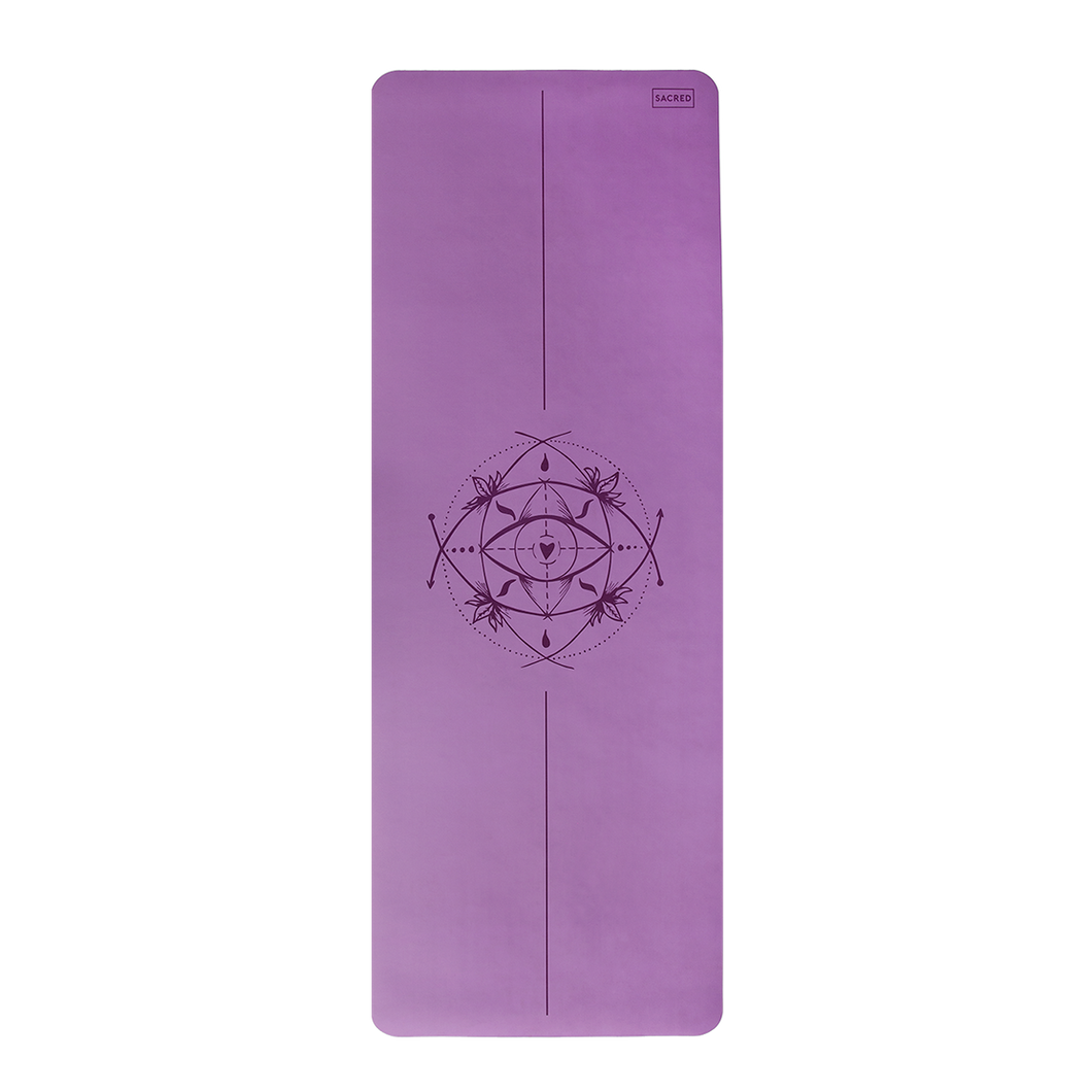 Core Yoga Mat with Body Alignment - 3mm French Lavender