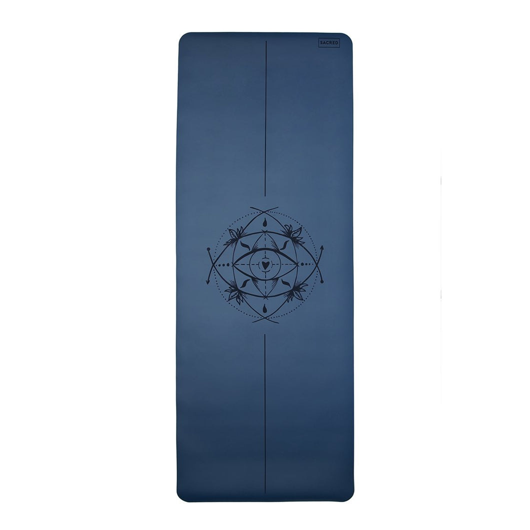 Core Yoga Mat with Body Alignment - 3mm Steel Blue