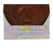 Load image into Gallery viewer, Incense Gift Set - Wood Round Burner + 3 Meditation Incense Sticks Packs & Holiday Greeting