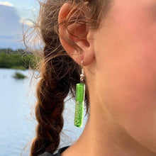 Load image into Gallery viewer, Long Rectangle Glass Dangle Earrings, Green Bubbles