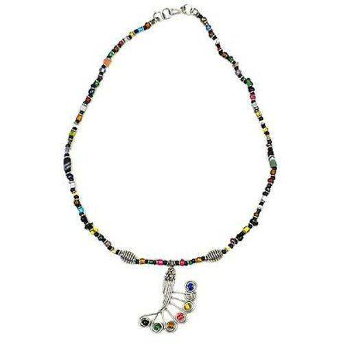 Single Strand Beaded 'Peacock Feather' Multicolor Necklace