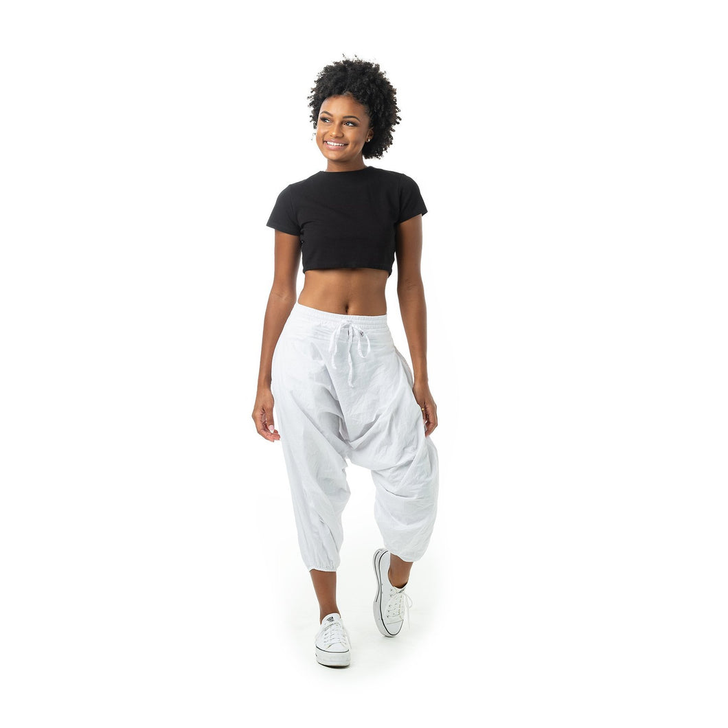 Fall Solid Harem Pants - White