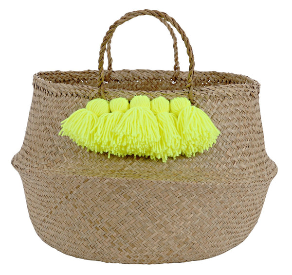 Neon Yellow Pom Basket