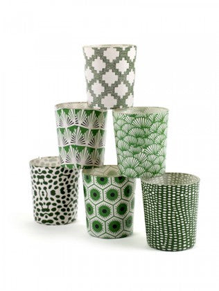 Green & White Patterned T-lights