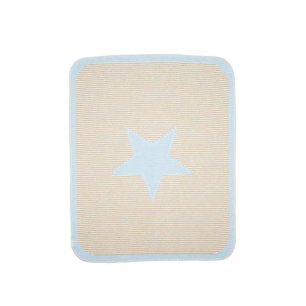 Blue & Taupe Star Baby Blanket