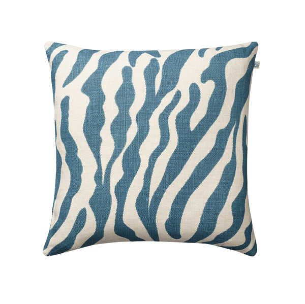 Zebra Blue Linen Cushion