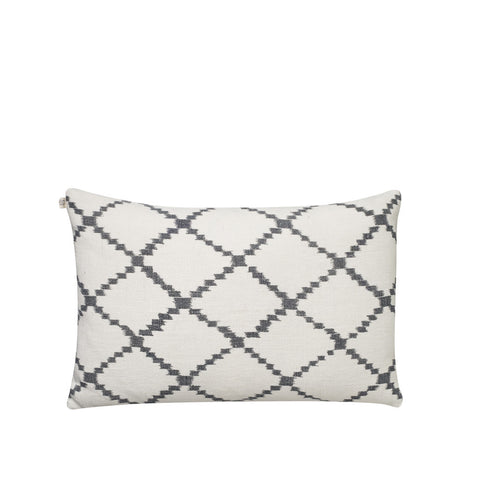 IKAT Kerela Cushion - White & Grey