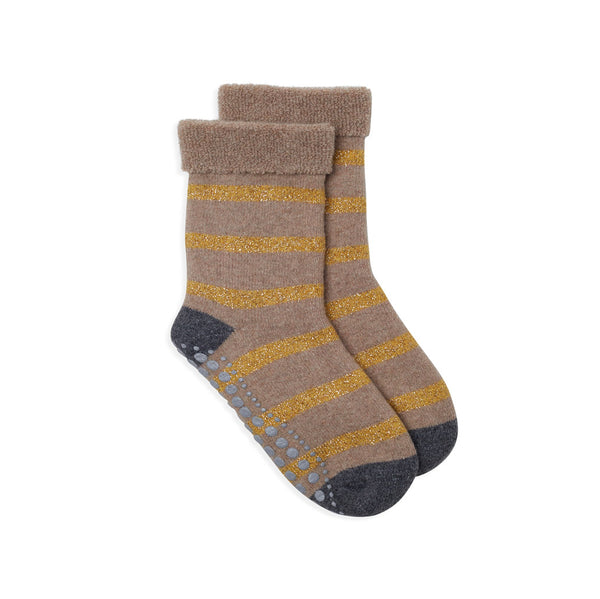 Stripe Slipper Sock - Gold & Camel