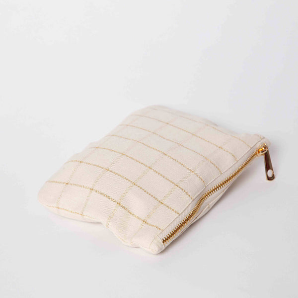 Cream & Gold Check purse