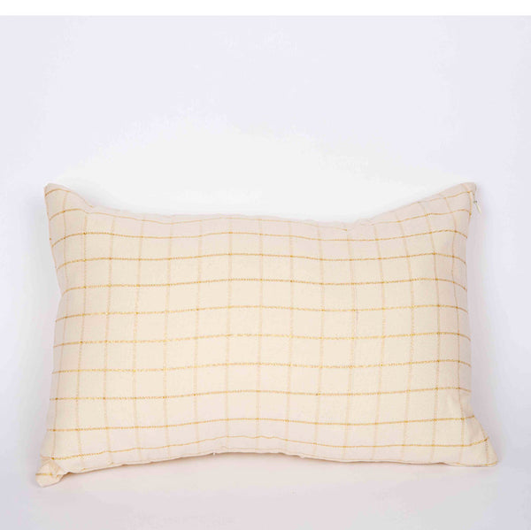 Cream & Gold Check Cushion