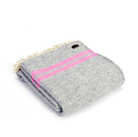 Grey & Pink Striped Throw