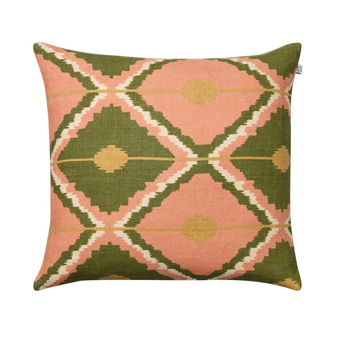 Green, Rose and Yellow Linen Cushion