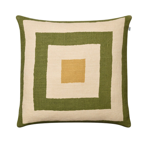 Green and Yellow Linen Cushion