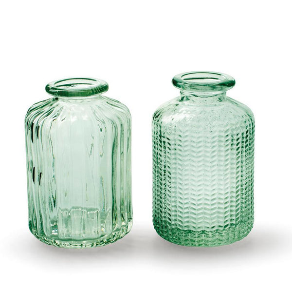 Pair of Green Bottle Vases