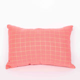 Coral & Gold Check Cushion