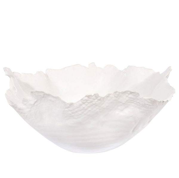 White Scalloped Bowl Large